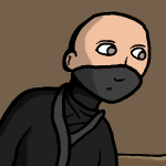A ninja dressed in black with a bare, bald head.
