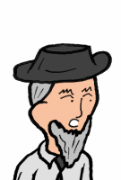 An old man with a brimmed had and scraggily beard.