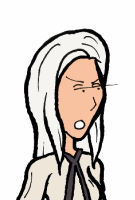 Long-haired woman with a scowl and white hair. Wears a stylish outfit.
