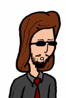 Sleek super spy with long hair and facial hair.