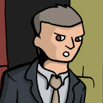 A stern businessman with gray hair.