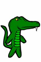 A stuffed alligator.
