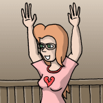 Red head girl with a pink shirt and glasses.