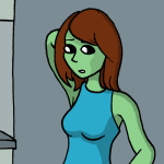 Zita is a green-skinned half-alien